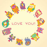 Owls cute greeting card and sample text. Royalty Free Stock Photo