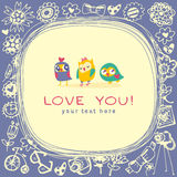 Owls cute greeting card and sample text. Stock Images