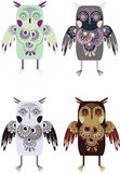 Owls. Cute, nice and stylized owls. Vector Stock Images