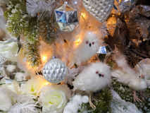Owls decorations on christmas tree Royalty Free Stock Photos