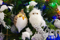 Owls decorations for christmas tree. Stock Image