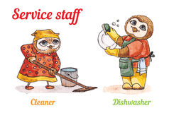 Owls and Dishwasher cleaner. Vector watercolor set. Stock Photo