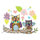 Owls Doodle with Flower Vector Royalty Free Stock Photo