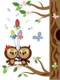 Owls ,easter. Royalty Free Stock Images