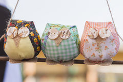 Owls fabric handmade Royalty Free Stock Image