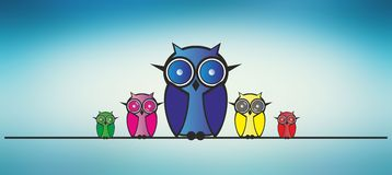 Owls family Royalty Free Stock Photos