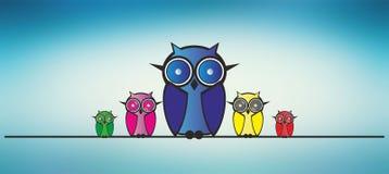 Owls family Royalty Free Stock Photos