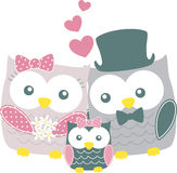 Owls family Royalty Free Stock Photography