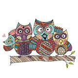 Owls Family Doodle Vector Royalty Free Stock Photos