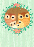 Owls family Royalty Free Stock Image