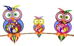 Owls family Royalty Free Stock Images