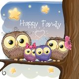 Owls family are sitting on a branch. Four owls mother, father, son and daughter is sitting on a branch stock illustration