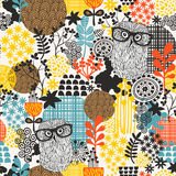 Owls on the field seamless pattern. Vector endless background Royalty Free Stock Photography