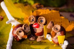 Owls figures made from autumn chestnut. Little funny animal figures of owls made from chestnut and acorns outdoors in nature stock photo