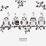 Owls five. Illustration of five silhouette funny emoticon owls sitting on a branch Royalty Free Stock Image