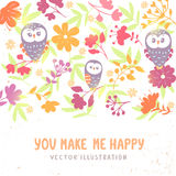 Owls and flowers background Stock Image