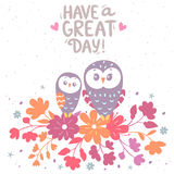 Owls and flowers Stock Photos