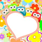 Owls, flowers and valentines heart in frame Royalty Free Stock Photography