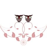 Owls and Foliage. Owls with hearts for beaks sitting on foliage different patterns on bellies Royalty Free Stock Image