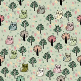 Owls forest vector seamless pattern Royalty Free Stock Photo