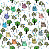 Owls in the forest vector seamless pattern Stock Photography