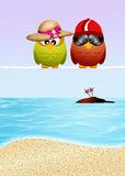 Owls go on vacation Royalty Free Stock Images