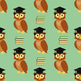 Owls with graduation caps seamless pattern Stock Images