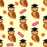 Owls with graduation caps seamless pattern vector illustration