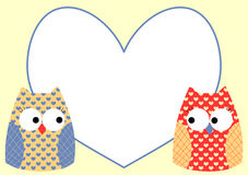 Owls greeting card with love heart Stock Image