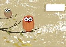 Owls and grunge background Stock Photo