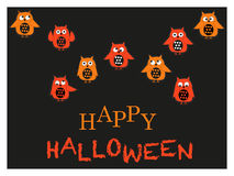 Owls with halloween greeting card vector Royalty Free Stock Photo