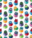 Owls hand drawn pattern Stock Photos
