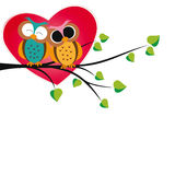 Owls and hearts Royalty Free Stock Image