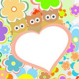 Owls In Flowers With Big Heart. Vector Stock Photos
