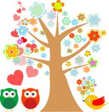 Owls In Love And Bird With Cute Floral Tree Stock Images