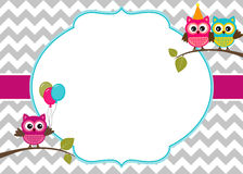 Owls invitation template. Invitation card template with party owls stock illustration