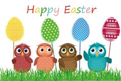 Owls keep Easter decorated eggs on a stick. Multicolored. Vector Stock Photos