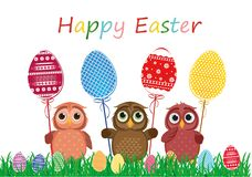 Owls keep Easter decorated eggs on a stick. Multicolored. Vector Royalty Free Stock Image
