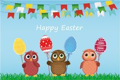 Owls keep Easter decorated eggs on a stick. Multicolored. Vector Royalty Free Stock Photos