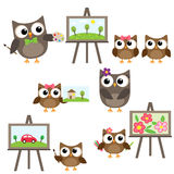Owls learning to draw Stock Photos