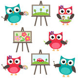 Owls learning to draw Royalty Free Stock Photos