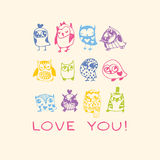 Owls Love card. Royalty Free Stock Photography