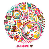 Owls Love circle background. Royalty Free Stock Images