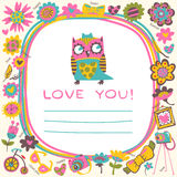 Owls Love cute background. Template for design cartoon greeting Royalty Free Stock Image