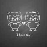 Owls in love Stock Photos