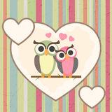 Owls in love Stock Image
