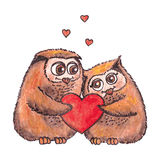 Owls in love with heart  watercolor. Royalty Free Stock Photography