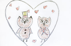 Owls in love  -illustration Stock Images
