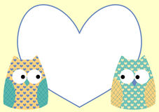 Owls love message greeting card. Card with two owls, and a heart frame to write message Stock Photography