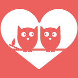 Owls in Love Minimal Vector Background, Valentine s day design. Royalty Free Stock Photography